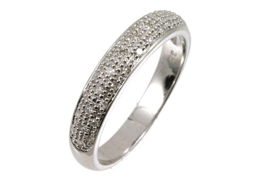 Diamond Eternity Ring, 9ct White Gold, Pave Set, Round CuT, 15 Carat Diamond Weight, SI Diamond Clarity, Ring Size M, Model PR5115W(O)