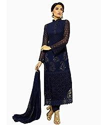 NavyBlue Colour Pure Chiffon Karachi Work Unstitched Dress Material