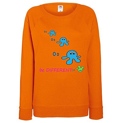 Divertente 028, Be Different, Arancio Fruit of the Loom Felpa Raglan Leggera da Donna Womens Sweatshirt con Design Colorato. Taglia XS, 36.