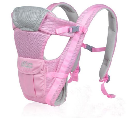 Front Back Baby Kid Toddler Infant Child Newborn Carrier Sling Wrap Pouch Hipseat Braces Backpack Strap Safety Harness Comfort Bag Gear Rider (Light Pink)