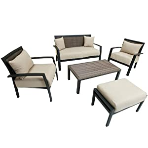 RST Brands OP-ALDSS5-ZEN Deep Seating Set Patio Furniture, 5-Piece by Red Star Traders - Lawn and Garden