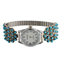 Wayne Johnson Sterling Silver Turquoise Petit Point Ladies Watch Zuni