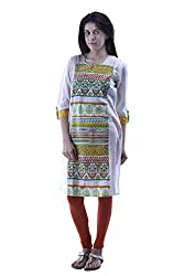aarr 3/4th Sleeves Cotton Floral Kurta For Women