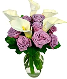 From You Flowers - Purple Rose and Calla Lily Bouquet (Free Vase Included)