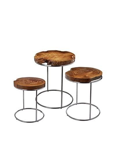 Artistic Lighting Set of 3 Stacking Tables, Natural Teak/Nickel