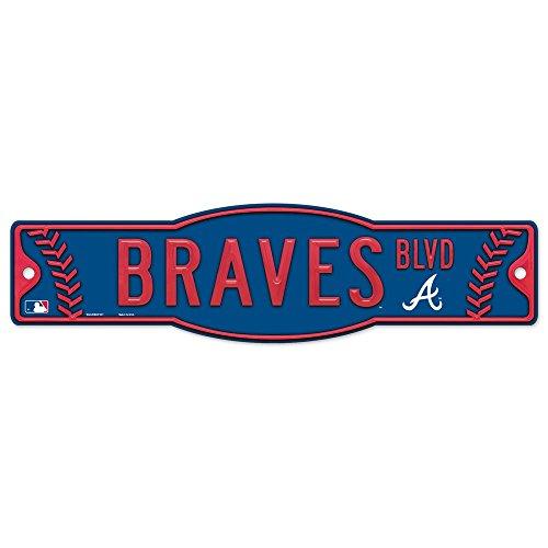 "MLB Atlanta Braves Street/Zone Sign, 4.5 x 17"", Black"
