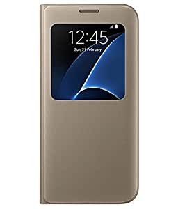 Flip Cover For Samsung Galaxy S7-Gold With Free Key Ring