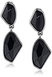 Kenneth Cole New York Black Geometric Faceted Bead Double Drop Earrings