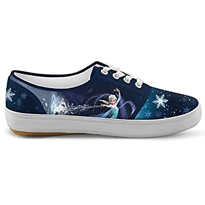 Disney FROZEN Let It Go Women's Canvas Shoes With Elsa, Anna And Olaf by The Bradford Exchange
