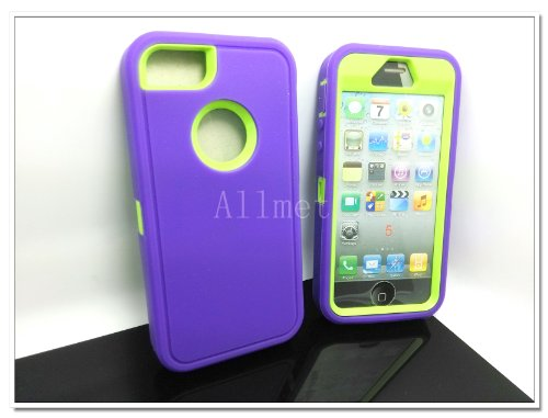=>>  Multi Color Iphone 5 5S Body Armor Silicone Hybrid Cove Hard Case, Three Layer Silicone PC Case Cover for iPhone 5 5S (Purple+Green)