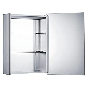 Whitehaus WHLED1 Single door medicine cabinet with double faced mirrored doors, two adjustable glass shelves, and mirror faced back wall Aluminum
