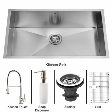 Vigo VG15076 Undermount Stainless Steel Kitchen Sink, Faucet, Grid, Strainer and Dispenser