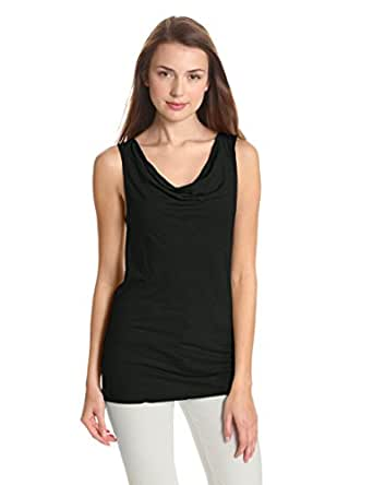 Michael Stars Women's Luxe Slub Sleeveless Cowl Neck Tank Top, Black, One Size