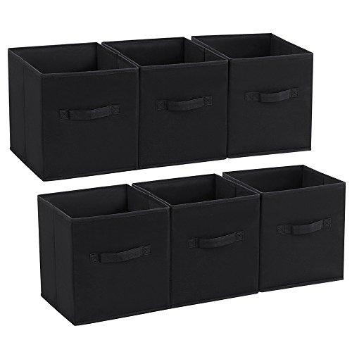 Songmics Set of 6 Foldable Storage Cubes Fabric Drawer Baskets Bins Set Closet Organizer Black UROB26H