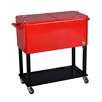 New Red 80 Quart Cooler Beer Cart Outdoor Entertaining Rolling Party Steel