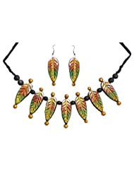 DollsofIndia Hand Painted Wooden Bead And Terracotta Leaf Necklace With Earrings - Terracotta And Wood - Green