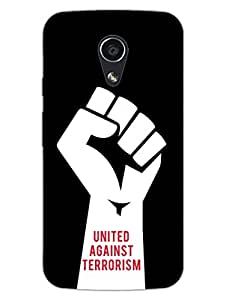 United Against Terrorism - Love For Country - India - Hard Back Case Cover for Moto G2 - Superior Matte Finish - HD Printed Cases and Covers