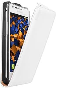 mumbi PREMIUM Leder Flip Case Samsung i9100 Galaxy S II Tasche Hülle - Ledertasche Galaxy S2 S 2 SII Schutzhülle weiü