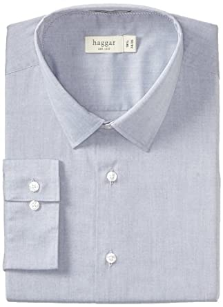 Haggar Men's Fitted Mechanical Stretch Solid Long Sleeve Dress Shirt, Medium Blue, 14.5(34/35)