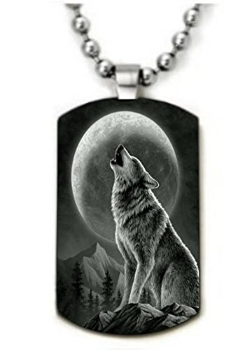 Howling Wolf Style2 Color Dog tag Necklace Pendant 24 inch Stainless Steel Chain Giftpouch and Keyring