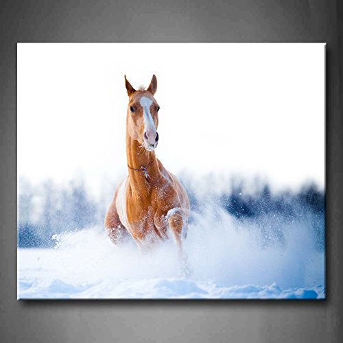Chestnut Horse Run Gallop In Winter Snow Wall Art Painting Pictures Print On Canvas Animal The Picture For Home Modern Decoration (Stretched By Wooden Frame,Ready To Hang)
