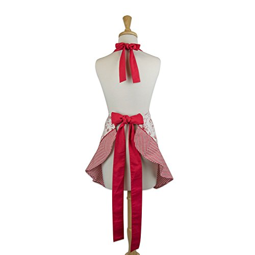 DII 100% Cotton, Holiday Women Cute Ruffle Apron, Kitchen Basic, Adjustable Neck & Waist Ties, Cooking, Baking, Crafting and More, Christmas Gift - Vintage Christmas 2