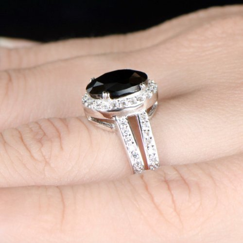 Oval Black Diamond Engagement Rings Oval cz Engagement Ring