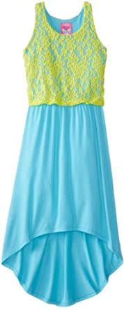 Derek Heart Big Girls' High-Low Dress with Lace Overlay, Blue/Lime Combo, Small