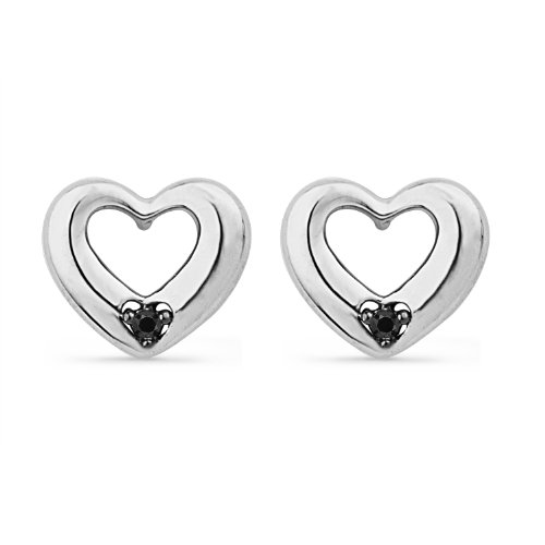Platinum Plated Sterling Silver Round Diamond Black Solitaire Heart Earring (1/20 CTTW)