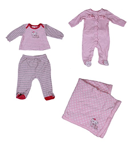 Absorba Baby-Girls 4-Pc Pajama Set With Soft Pile Blanket (6 Months, Pink/White) front-916109