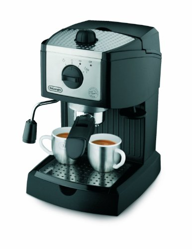 DeLonghi 15 BAR Pump Espresso and Cappuccino Maker, Features Self Priming Operation, with Patented Dual-Function Filter for Pods or Ground Coffee, and Swivel Jet Frother, Stainless Steel Boiler, and 35-Ounce Removable Water Tank, Includes Removable Drip Tray