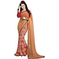 Pakiza Design Georgette partywear saree(Peach)