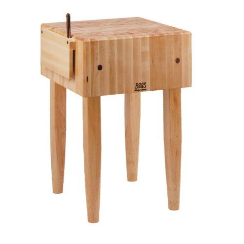 John Boos Pca1 18 by 18 by 10-Inch Maple Butcher Block with Knife Holder