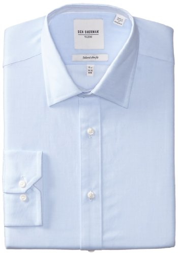 Ben Sherman Men'S Twill Dress Shirt,Lite Blue,17.5 Inch X 36/37 Inch