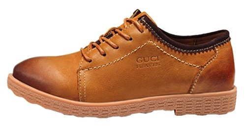 Guqitianlun Women Vintage Round Toe Casual Oxfords Lace Up Leather Shoes(8.5 B(M)US, Tan)
