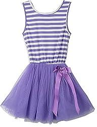 Baby Girls Kids Party One-piece Bow Dress Tulle Stripes Sleeveles Sundress Skirt