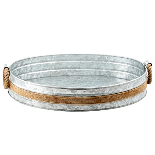 Cambridge Silversmiths Shiloh Galvanized and Rope Bar Tray, Stainless Steel (Galvanized Steel Tray compare prices)
