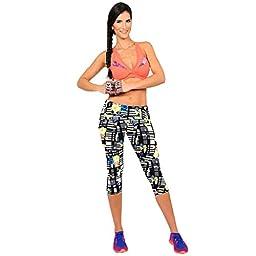 AutumnFall® Performance Activewear - Printed Yoga Capri Work-out Leggings (M, Black)