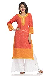 ADA Lucknowi Chikan Handmade Regular Fit Ethnic Wear Casual Kurti Long Kurta A104595