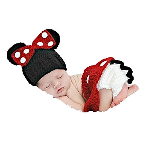 Cx-queen Baby Crochet Mouse Photography Costume Shoes & Hat(red)