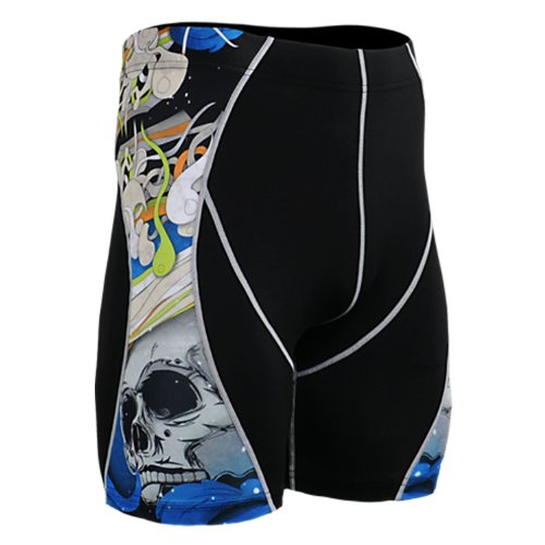 Fixgear Mens Womens Skull Print Running Compression Base Layer Shorts S ~ 2XL