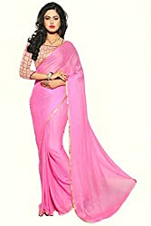 KRIZEL Pink Nazneen Saree With Embroidery Blouse