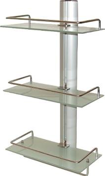 badregal wandregal regal f r bad aus aluminium mit 3 glasablagen us229. Black Bedroom Furniture Sets. Home Design Ideas