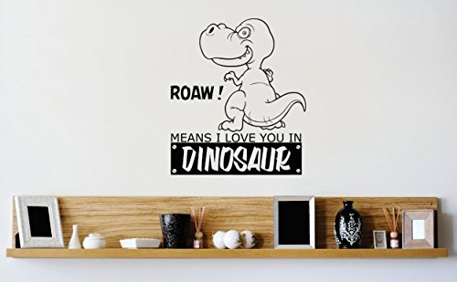 Design with Vinyl 1 Zzz 222 Decor Item Roaw Means I Love You in Dinosaur Boys Kids Bedroom Wall Decal Sticker, 12 x 12-Inch, Black