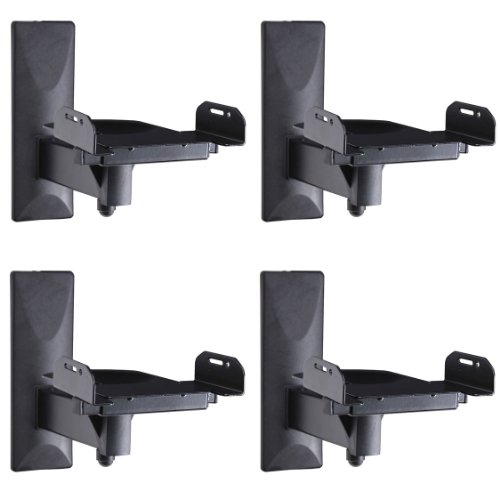 Videosecu 4 Packs Side Clamp Grip Bookshelf Speaker Wall Mount With Tilt And Swivel Ms56Bk M90