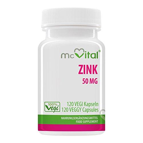 Zink 50 mg - 100% vegan - Hohe Bioverfügbarkeit - 120 Vegikapseln