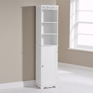 modern shabby chic bathroom scroll tall floor cabinet unit