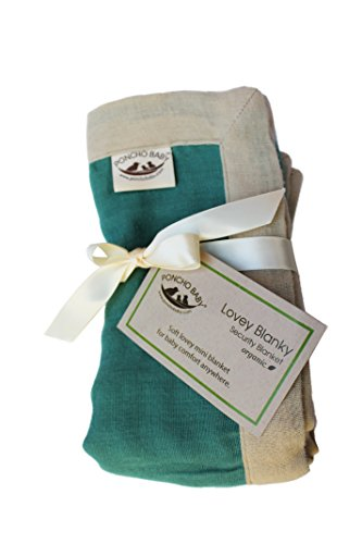 Poncho Baby Organic Security Blanket, Lovey Blanky, Emerald/Beige