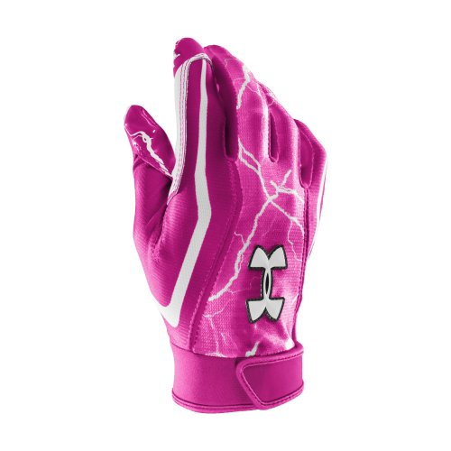 Men's UA Bolt Football Gloves Gloves by Under Armour Extra Large Tropic Pink