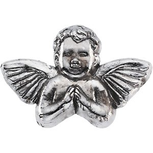 14K White Gold 08.00X12.00 MM Praying Angel Lapel Pin Ring Size 6